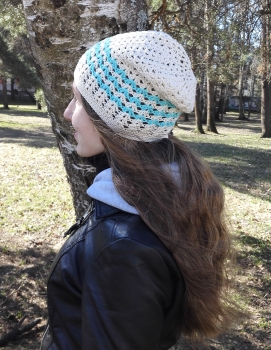 crochet white cotton hat